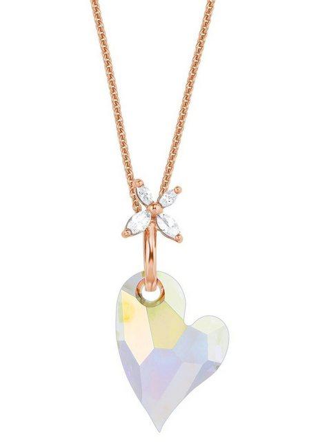 Amor Kette mit Anhänger »Herz und Blüte, 9556045«, mit Kristallglasstein und Zirkonia   Schmuck > Halsketten > Herzketten   Amor