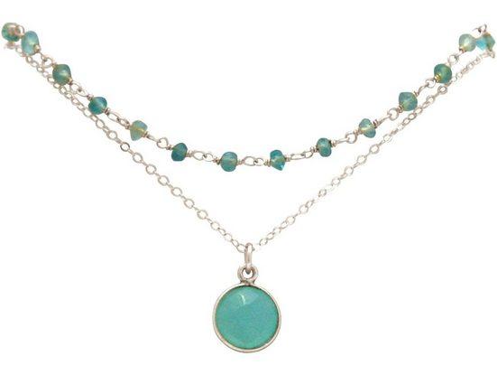Gemshine Kette mit Anhänger »Choker meeresgrüne Chalcedon Edelsteine«, 925 Silber