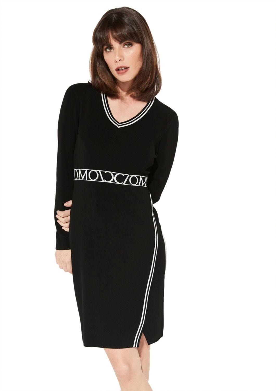 schwarzes strickkleid mit lederrock von comma
