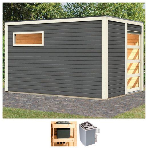 KARIBU Saunahaus »Carlton«, 368x276x221 cm, 9 kW Ofen mit int. Steuerung
