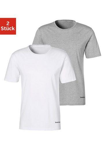 Bruno Banani T-Shirt (Packung, 2er-Pack) mit kleinem Logodruck am Saum