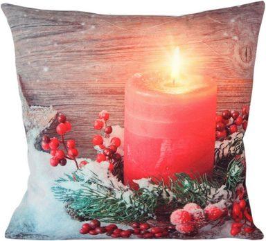 Kissenhülle »Candle«, Delindo Lifestyle, mit integrierter LED-Beleuchtung