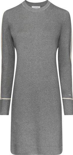 Calvin Klein Strickkleid »LS KNITTED SWEATER DRESS« mit kontrastfarbenen Ajourmsuter auf dem Ärmel