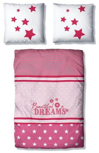 Kinderbettwäsche »Astro«, Lüttenhütt, mit Sternen und Streifen