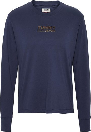 TOMMY JEANS Langarmshirt »TJW CHEST METALLIC LONGSLEEVE« mit Tommy Jeans Logo-Schriftzug im Glitzerdruck