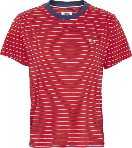 TOMMY JEANS T-Shirt »TJW ESSENTIAL STRIPE TEE« im zweifarbigen allover Ringel mit Tommy Jeans Logo-Flag