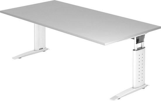 bümö Schreibtisch »OM-US2E-W«, höhenverstellbar - Rechteck: 200x100 cm - Gestell: Weiß, Dekor: Grau