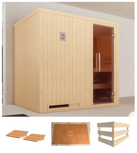WEKA Sauna »Halmstad 2«, 194x177x199 cm, ohne Ofen, Glastür