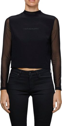 Calvin Klein Jeans Langarmshirt »LONG SLEEVE MESH TOP« mit leicht transparenten Ärmeln & Calvin Klein Jeans Schriftzug auf der Brust