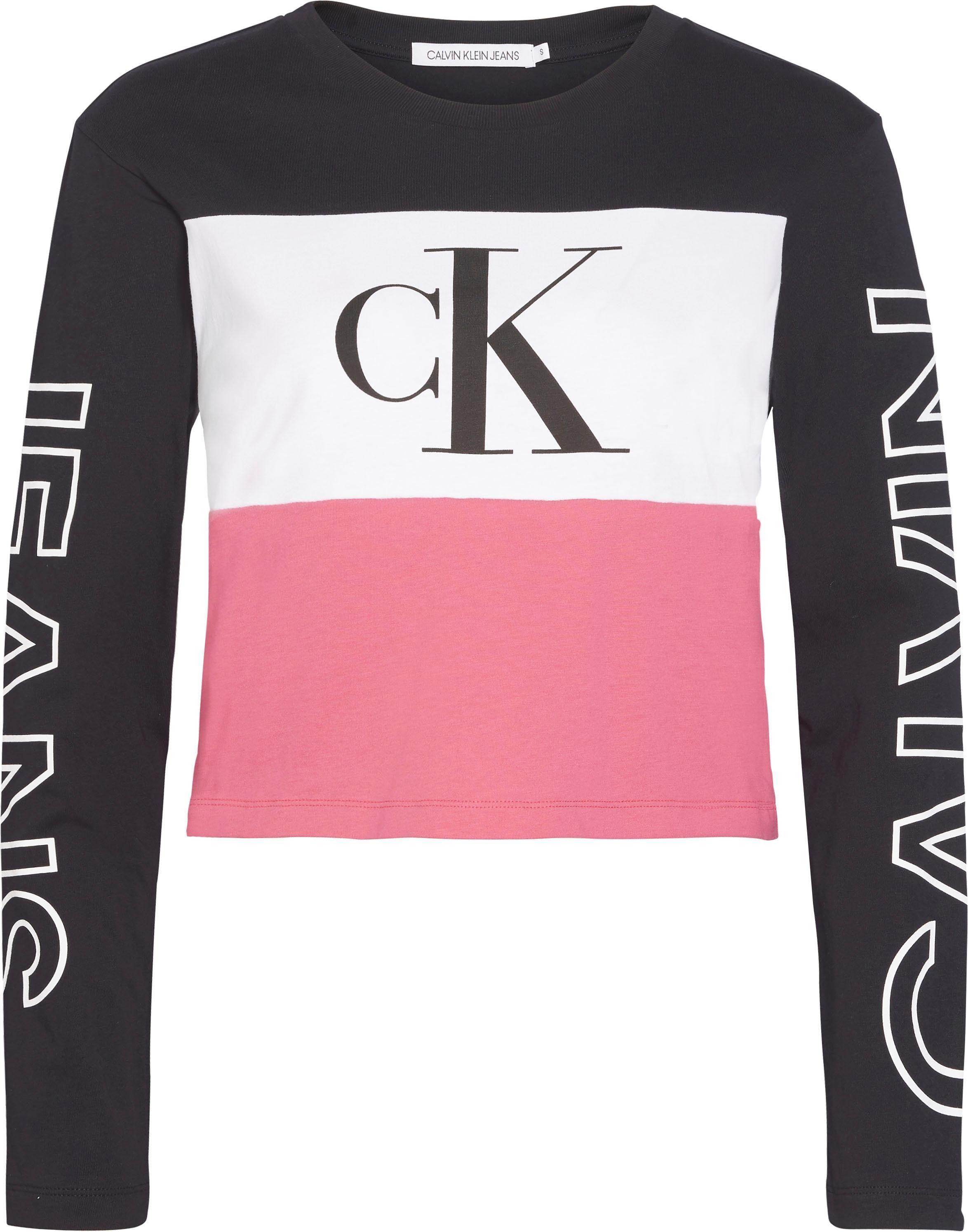 Calvin Klein Jeans Langarmshirt »BLOCKING STATEMENT LOGO LS TEE« im Colorblocking Dessin mit Calvin Klein Jeans Logo Schriftzug online kaufen | OTTO