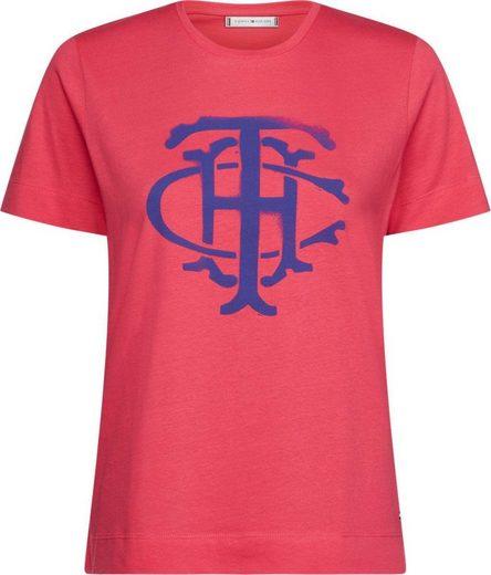 TOMMY HILFIGER T-Shirt »PENNY C-NK TEE SS« mit großem Tommy HIlfiger Wappen als Frontprint