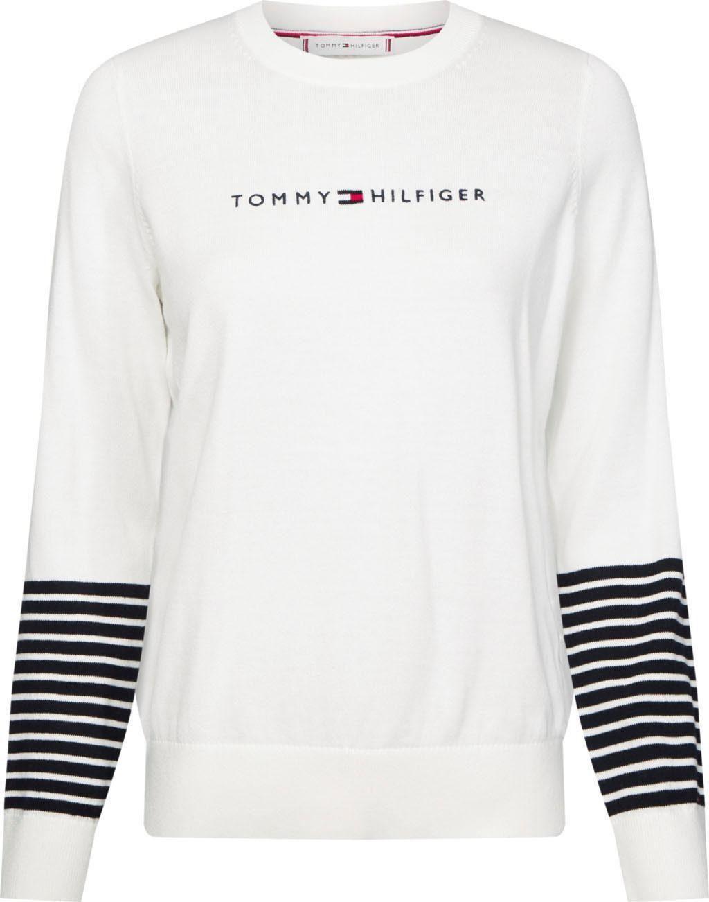 TOMMY HILFIGER Rundhalspullover »JENAH GRAPHIC C NK SWTR« mit Streifen am Ärmel & Tommy Hilfiger Logo Stickerei online kaufen | OTTO