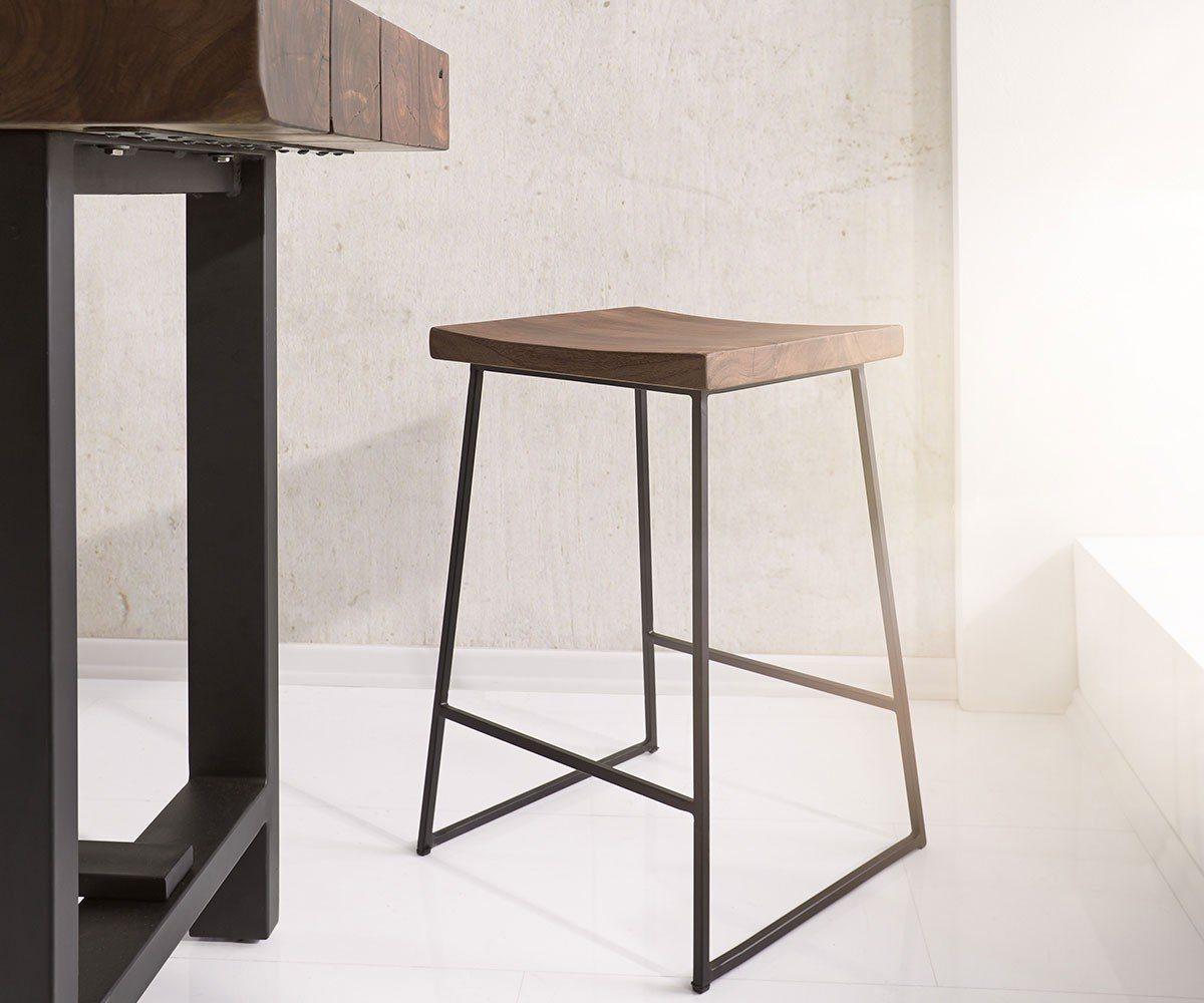 Barmöbel - DELIFE Barhocker Blokk Akazie mit Fußablage Metallgestell Barstuhl  - Onlineshop OTTO