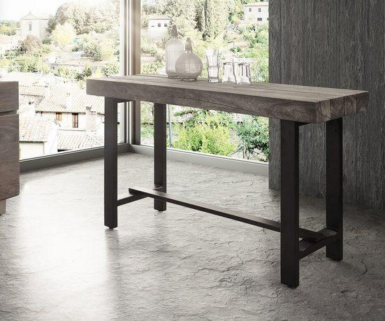DELIFE Stehtisch Blokk Akazie Natur 165x60 Bartisch Industrial Style