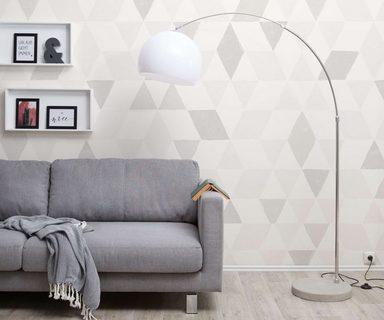 DELIFE Stehlampe Big-Deal Silber höhenverstellbar Bogenleuchte