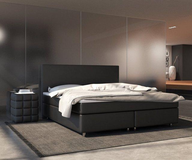 Betten - DELIFE Bett Cloud Matratze und Topper Federkern Boxspringbett › 160x200 cm › schwarz  - Onlineshop OTTO