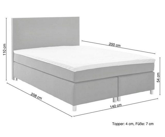 Betten - DELIFE Bett Cloud Matratze und Topper Federkern Boxspringbett › 140x200 cm › schwarz  - Onlineshop OTTO