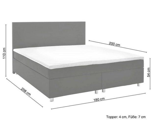 Betten - DELIFE Bett Cloud Matratze und Topper Federkern Boxspringbett › 180x200 cm › schwarz  - Onlineshop OTTO