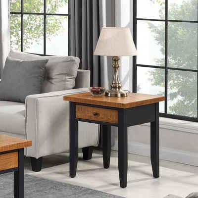 B&D home Beistelltisch »Couchtisch 14201«, Nachttisch, Sofatisch, telefontisch für Wohnzimmer, Schlafzimmer, Massivholz, retro