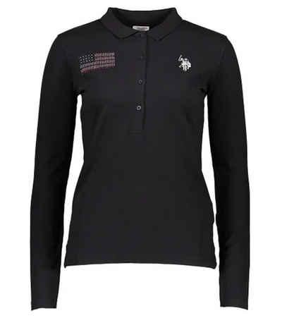 U.S. Polo Assn Poloshirt »U.S. POLO ASSN. Langarm Polo-Shirt modisches Damen Polo-Hemd Freizeit-Shirt Schwarz«