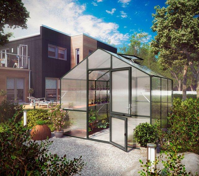 KGT Gewächshaus »Lilie III«, BxTxH: 297x323x268 cm, anthrazit, inkl. Regenrinne | Garten > Gewächshäuser | KGT