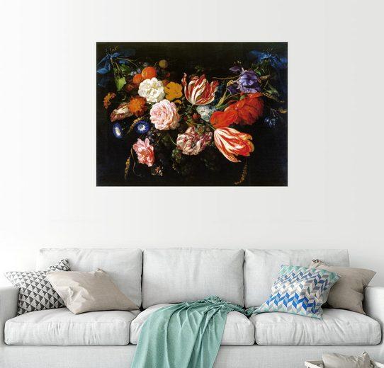 Posterlounge Wandbild, Girlande aus Blumen und Früchten