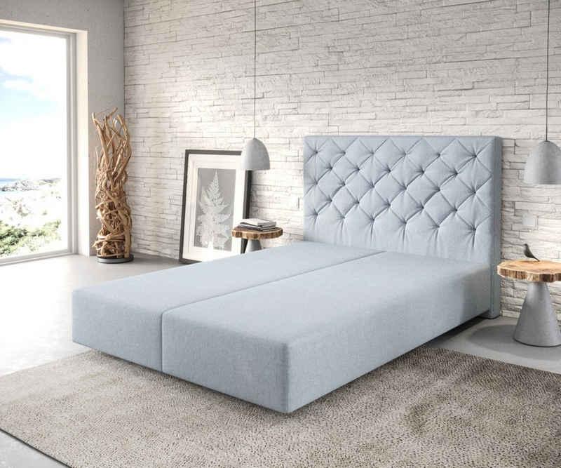 DELIFE Boxspringbett »Dream-Great«, Flachgewebe Pastellblau 140x200