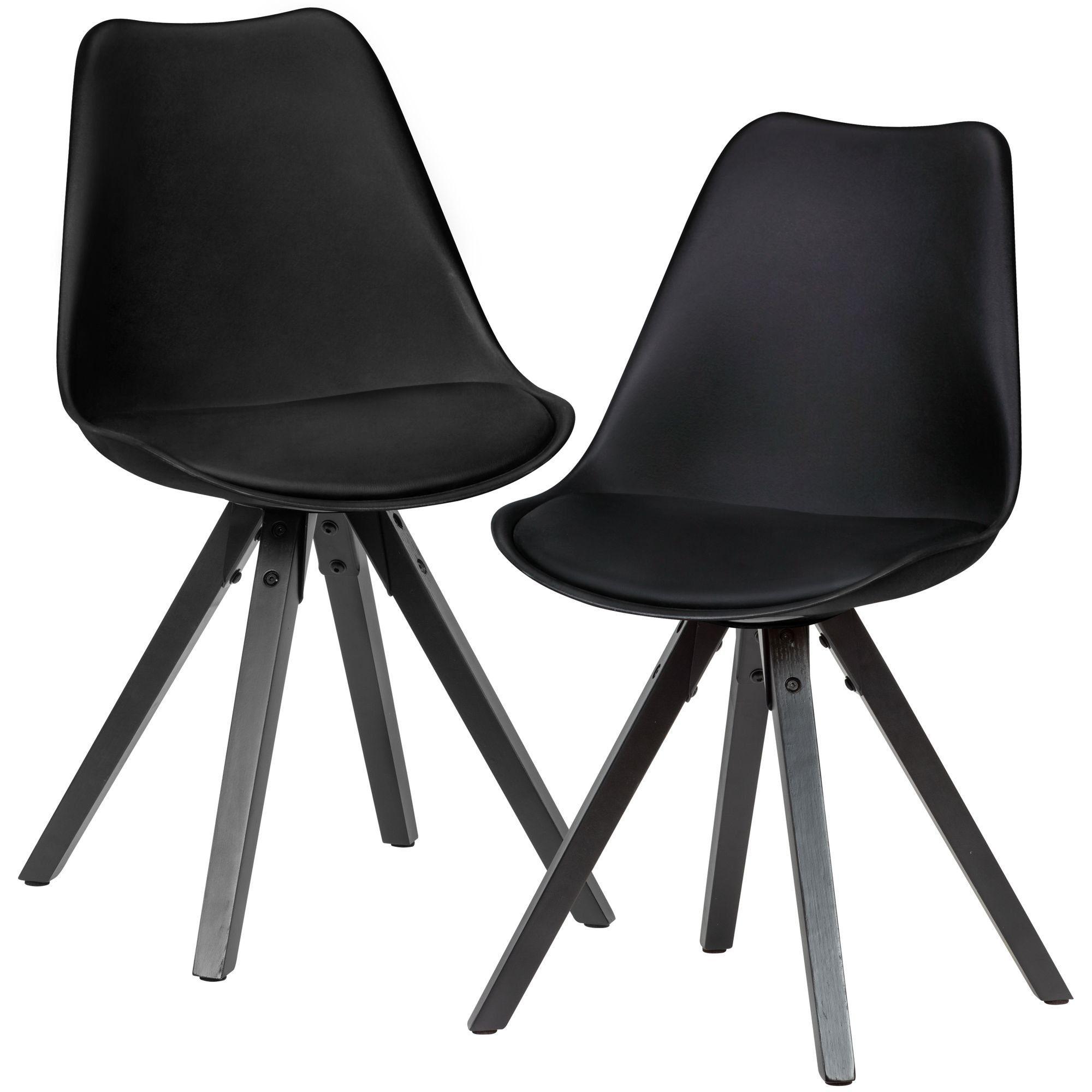 Wohnling Esszimmerstuhl »WL6.134« 2er Set Retro Küchenstuhl Schwarz mit Schwarzen Beinen Polsterstuhl Skandinavisch Rückenlehne Stuhl Kunstleder