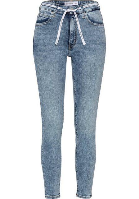 Hosen - Calvin Klein Jeans Skinny fit Jeans »HIGH RISE SKINNY ANKLE« mit Calvin Klein Jeans Stickerei am Hosensaum und Calvin Klein Jeans Schnürsenkel am Bund ›  - Onlineshop OTTO
