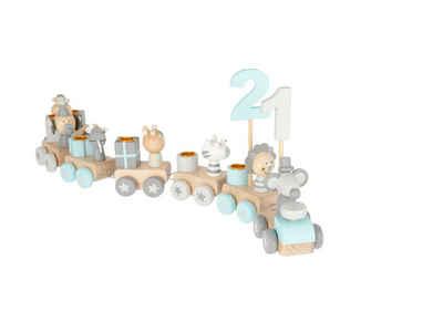 BIECO Kerzenhalter »Bieco Holz Geburtstagszug Scandi Look 0-99 Jahre Holz Zahlenzug 28 tlg., Länge ca. 48 cm Kerzen Geburtstagszug Holz Eisenbahn Kinder Geburtstagszug Holz Geburtstagskerzen Zahlen Holz-Zug«