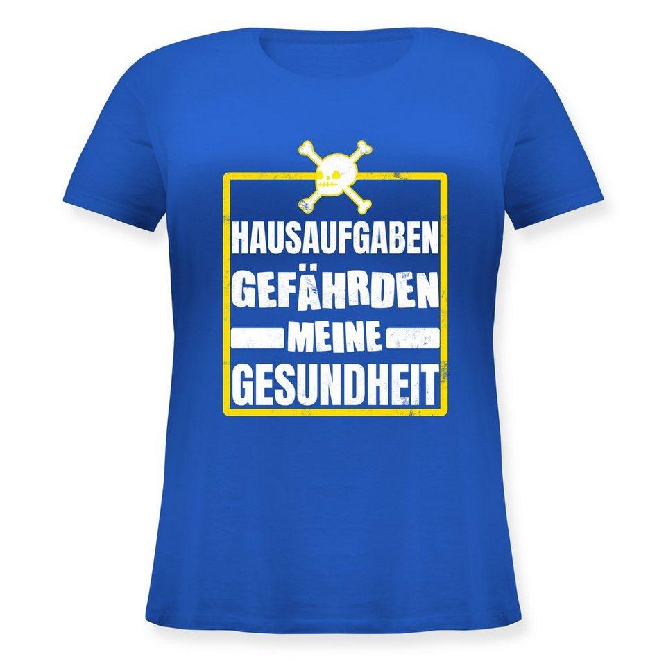 shirtracer t-shirt »hausaufgaben gefährden meine gesundheit - totenkopf  weiß/gelb - einschulung und schulanfang - damen große größen shirt rundhals  -