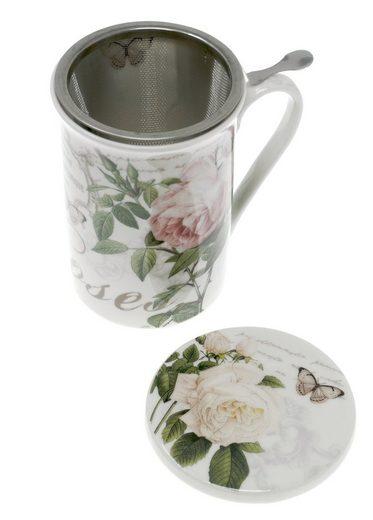 Lashuma Tasse »Rosen«, Porzellan, Teetasse mit Sieb und Untersetzer, Porzellanbecher 300 ml