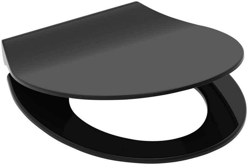Schütte WC-Sitz »SLIM BLACK«, aus Duroplast mit Absenkautomatik und Schnellverschluss