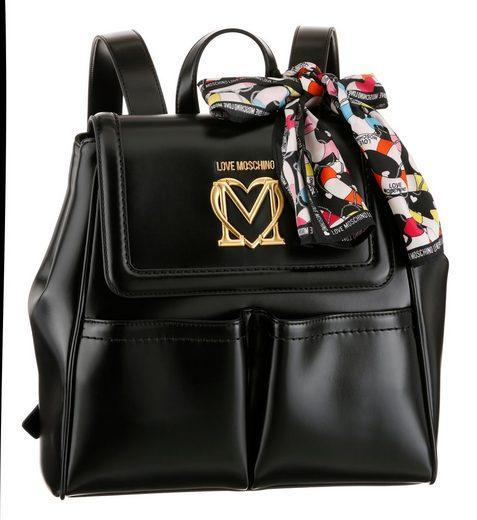 LOVE MOSCHINO Cityrucksack, mit seitlichen Druckknöpfen für variables Taschenvolumen