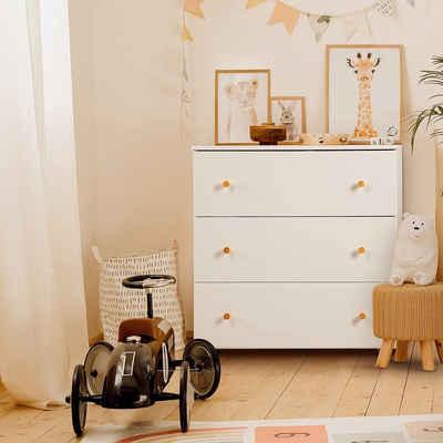 Kids Collective Wickelkommode »Kommode mit Wickel-Aufsatz & drei Schubladen«, umbaubarer Wickeltisch, Made in Europe