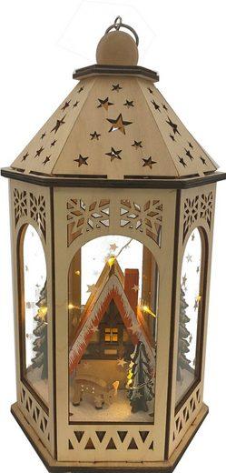 LED Laterne, mit Weihnachtslandschaft, Höhe ca. 29 cm