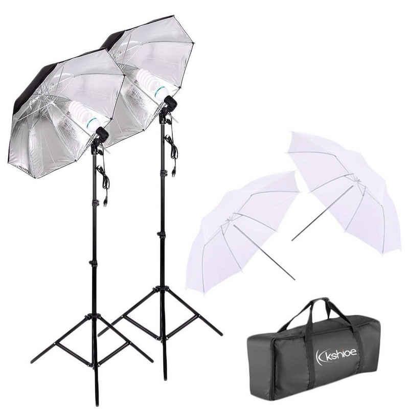 """Vaxiuja »Silber Schwarz Regenschirmhalter Set EU Stecker 45W Zwei Lichter 33"""" Weiß Regenschirme 33"""" Weiß & Schwarz« Vollformat-Digitalkamera"""