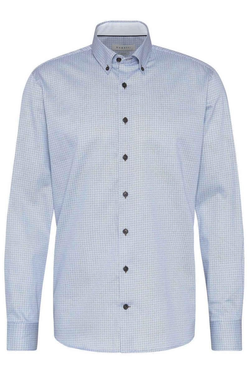 bugatti Langarmhemd mit dezentem Muster