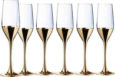 Leonique Sektglas »Donella«, Glas, mit hochwertigem Golddekor, 6-teilig