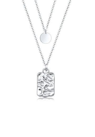 Elli Collierkettchen »Layer Geo Plättchen Organic Look 925 Silber«