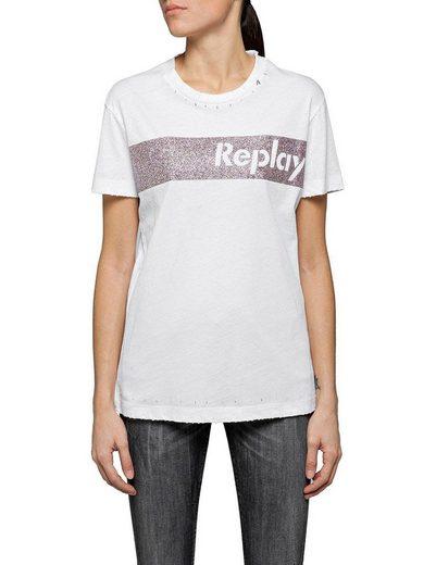 Replay T-Shirt mit stylischem Glitzerdruck