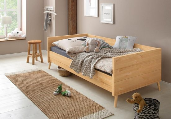 Lüttenhütt Bett »Ellen«, aus massivem Kiefernholz, in 2 verschiedenen Farben, mit Holzfüßen
