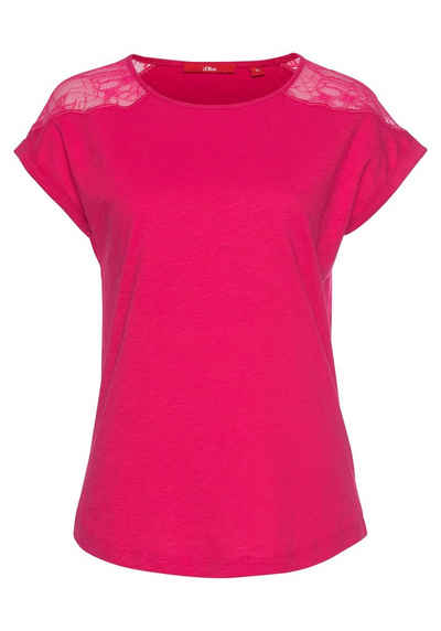 s oliver t shirt mit tollem spitzeneinsatz auf der schulter  alessa w shirt mit glitzerbandern damen bekleidung ojxzxqlsv #15