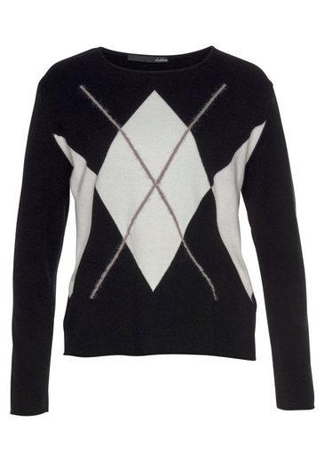 LeComte Rundhalspullover mit großem kontrastfarbigem Rauten-Muster im schwarz-weiß Look