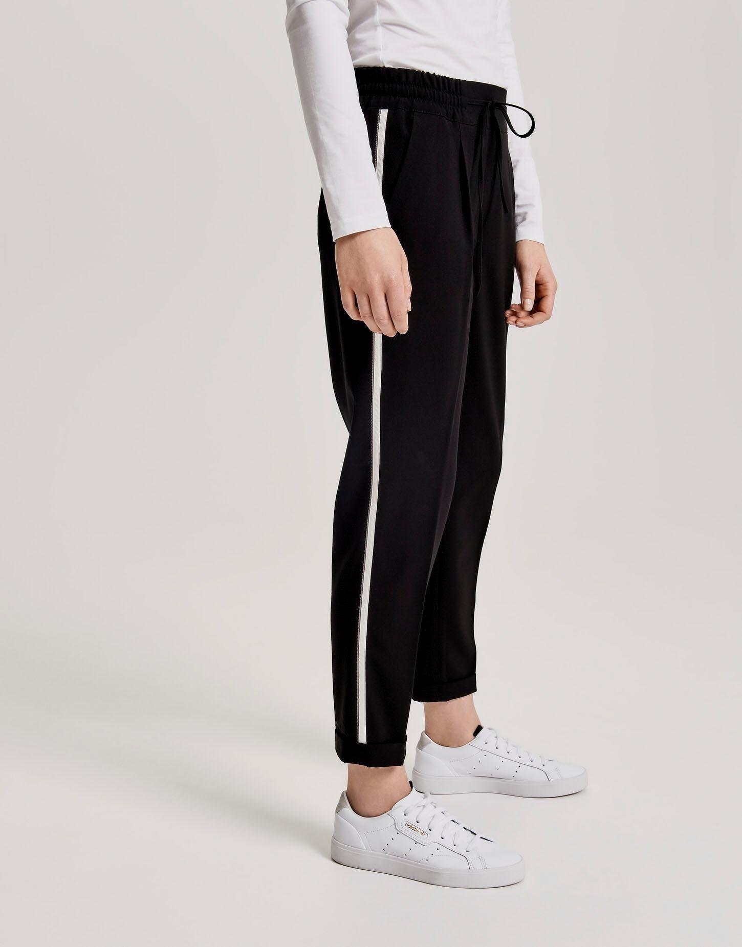 Aniston Sommerhose lockere Stoffhose Damen Hose aus 100/% Baumwolle Beinsaum Blau