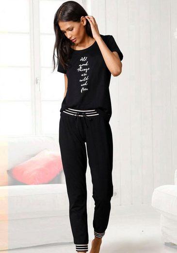 s.Oliver Pyjama mit gestreiften Rippbündchen