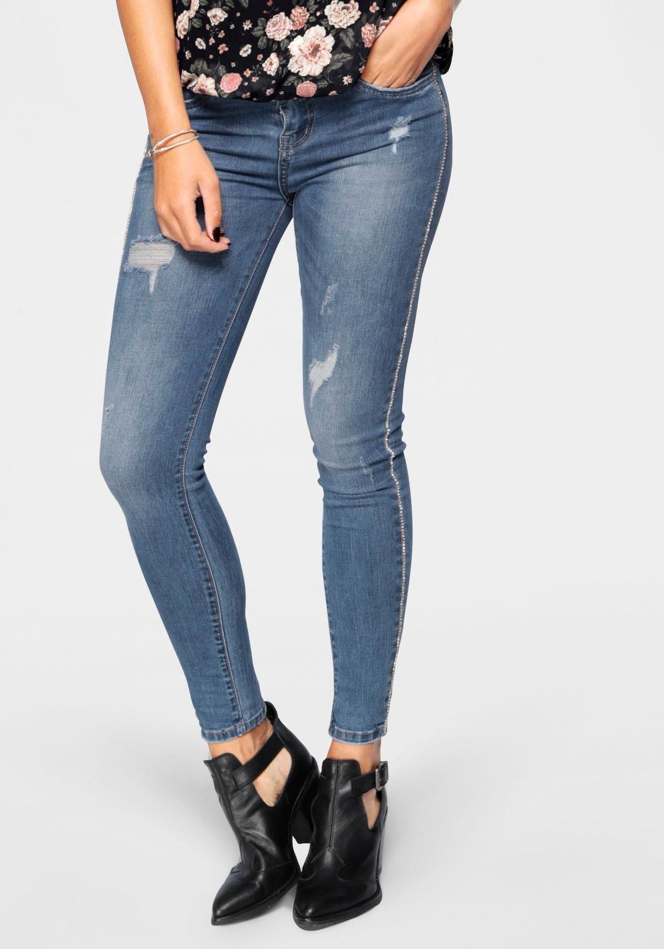 HaILY'S Skinny fit Jeans »ANNY« mit Glitzersteinen an den Seiten online kaufen | OTTO