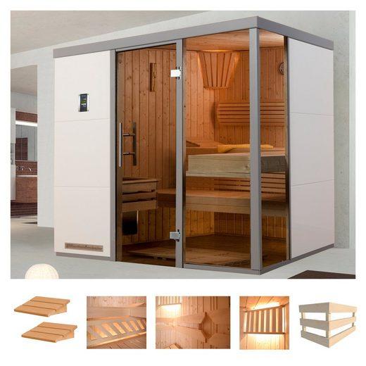 WEKA Sauna »Wellnissage Bianco 1R«, 221x185x206 cm, ohne Ofen, Fensterecke rechts