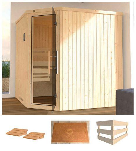 WEKA Sauna »Varberg 3«, 194x194x199 cm, ohne Ofen, Glastür