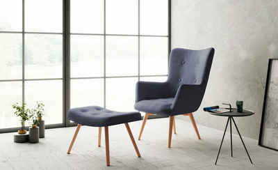 Homexperts Sessel »Aron« (1-St), Sessel mit Knopfsteppung, wahlweise mit Hocker